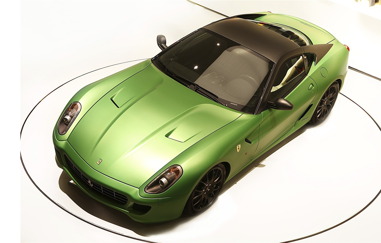 Photo wallpaper green, white background, ferrari, 599, green, italianao