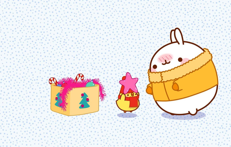 Photo wallpaper holiday, toys, anime, art, New year, tinsel, Bunny, asterisk, children's, kodomo no hi, Malang