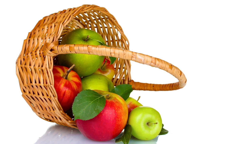 Photo wallpaper apples, harvest, fruit, basket