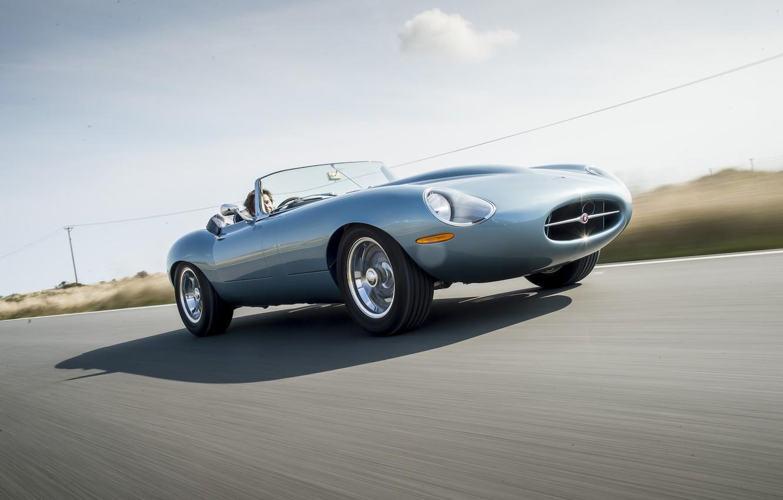 Photo wallpaper road, machine, speed, Jaguar, Eagle, sportcar, Spyder, speed, British, british, Road, E-TYPE