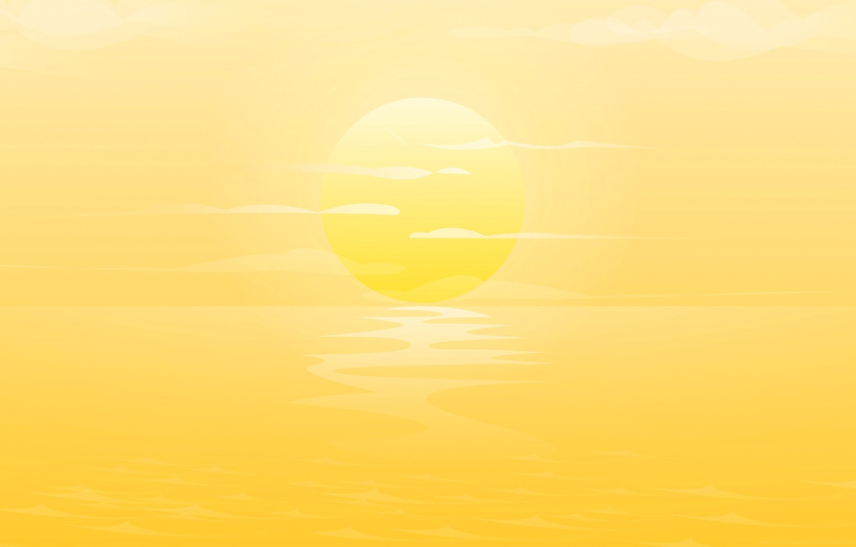 Photo wallpaper sea, the sun, clouds, sunset