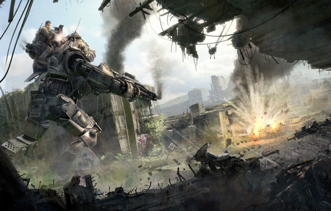 Photo wallpaper battlefield, gun, game, robot, mecha, weapon, war, dust, rifle, machine gun, combat, Titanfall, Titanfall 2, …