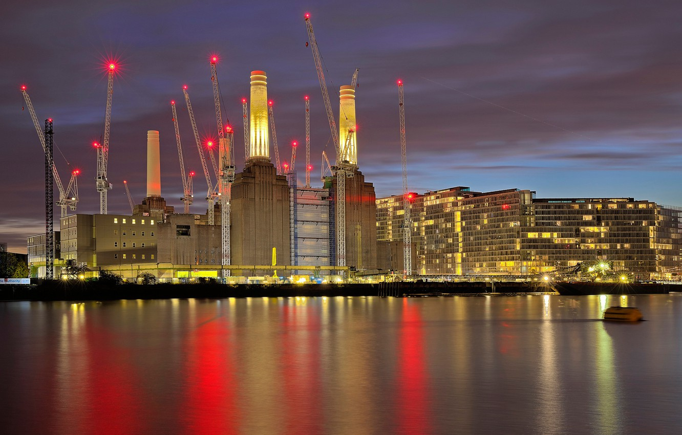 Wallpaper Night Lights England London Home Crane Images