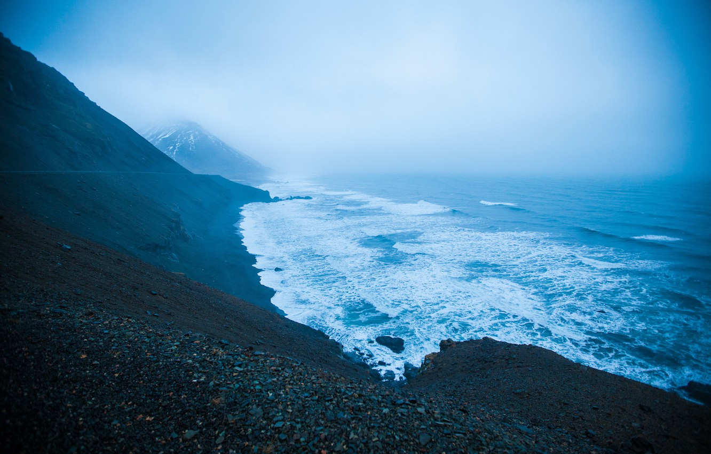 Photo wallpaper mountains, shore, Iceland