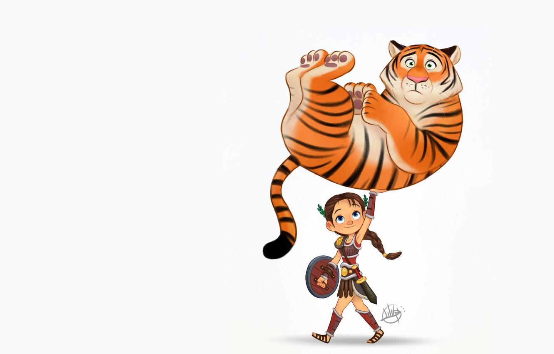 Photo wallpaper tiger, the situation, art, Gladiator, children's, Luigi Lucarelli, Character Design