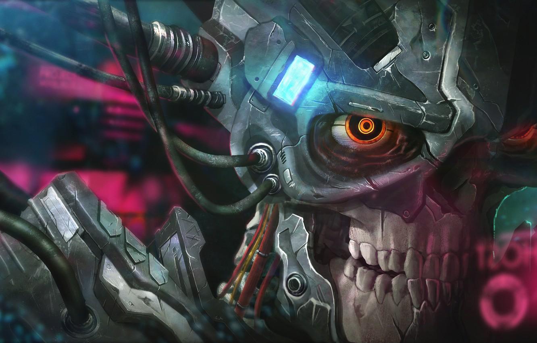 Photo wallpaper skull, cyborg, Chin Yang Lim, Recharge