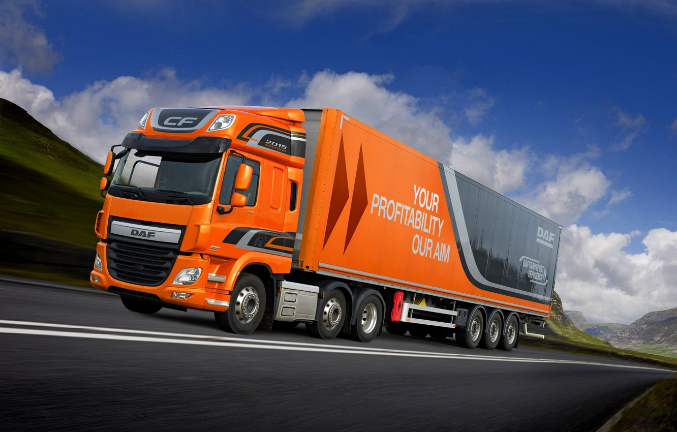 Photo wallpaper greens, the sky, clouds, mountains, orange, movement, track, DAF, tractor, DAF, Space Cab, 2015, the …