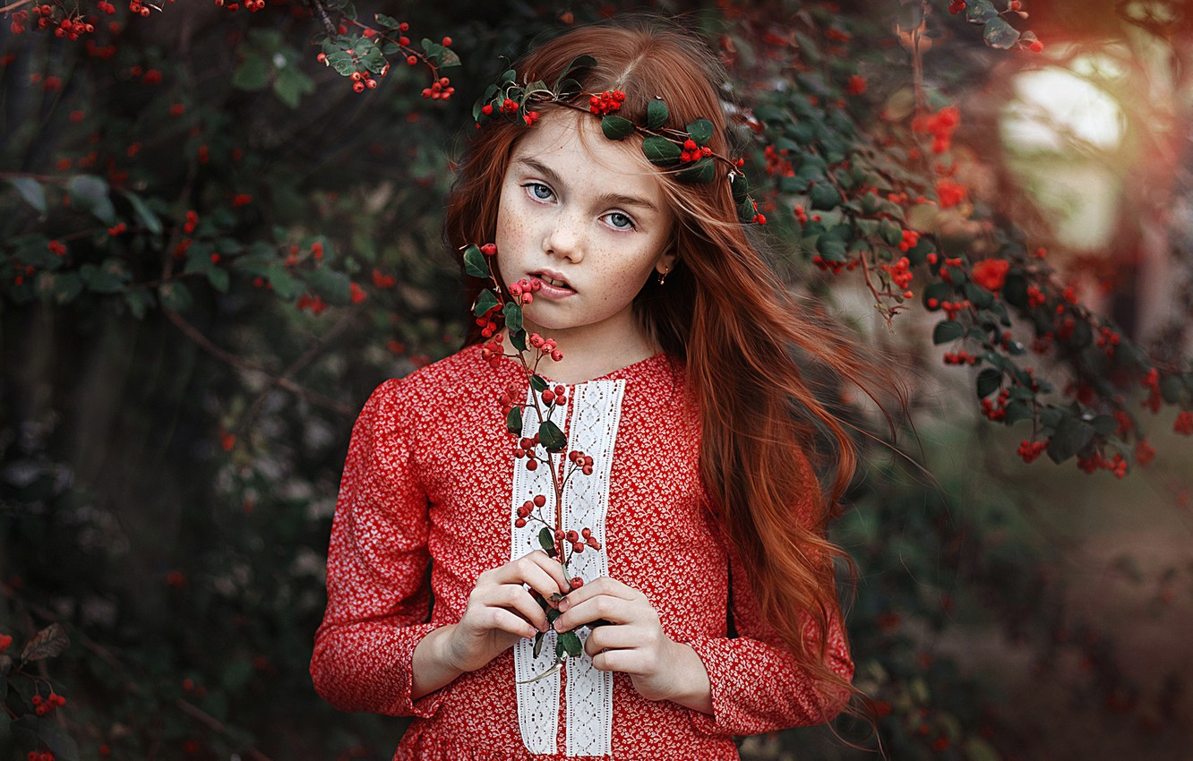 Photo wallpaper look, branches, berries, sprig, mood, hair, portrait, girl, freckles, red, redhead, Pauline, freckled
