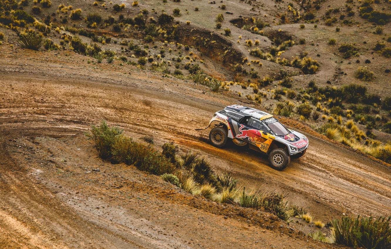 Photo wallpaper Sand, Sport, Speed, Turn, Race, Peugeot, Lights, Red Bull, 300, Rally, Dakar, Dakar, Rally, Sport, …
