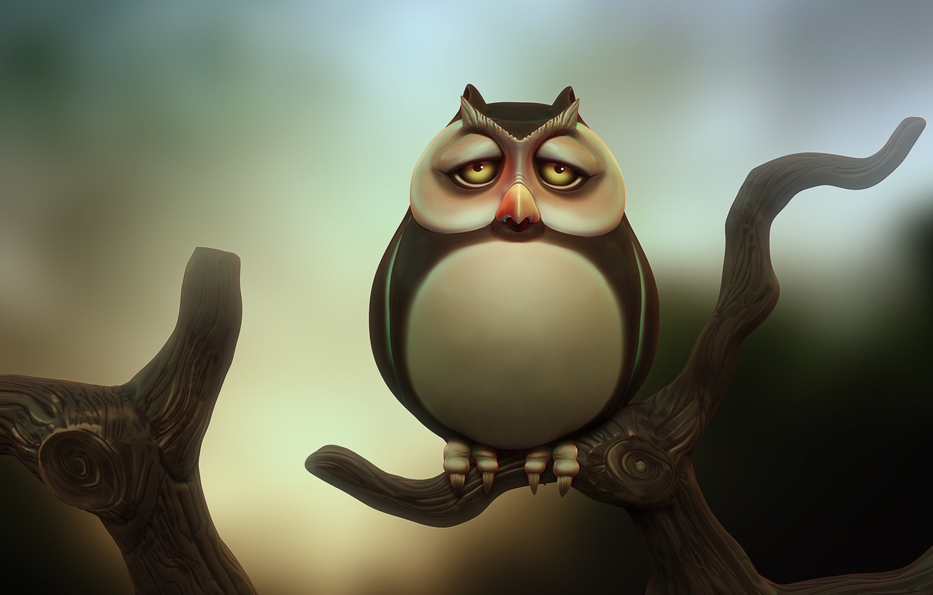 Photo wallpaper owl, branch, art, owl, Michal Kwolek