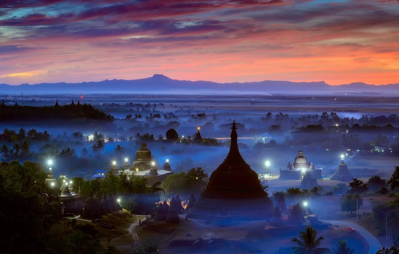 Photo wallpaper lights, fog, the evening, morning, haze, Burma, temples