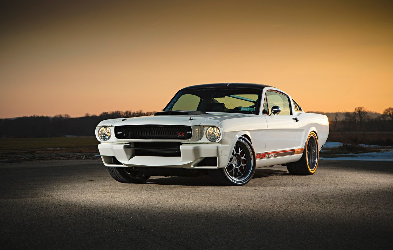 Photo wallpaper Ford Mustang, 1965, White, Modifield
