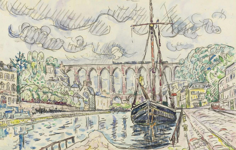 Photo wallpaper the city, figure, ship, port, watercolor, Paul Signac, Morlaix
