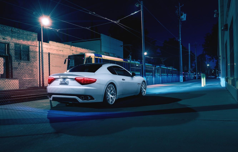 Photo wallpaper Maserati, Night, Street, Supercar, Gran Turismo, Rear