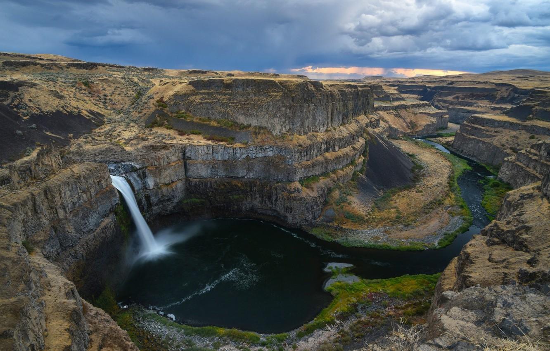 Photo wallpaper rock, waterfall, the flow of water