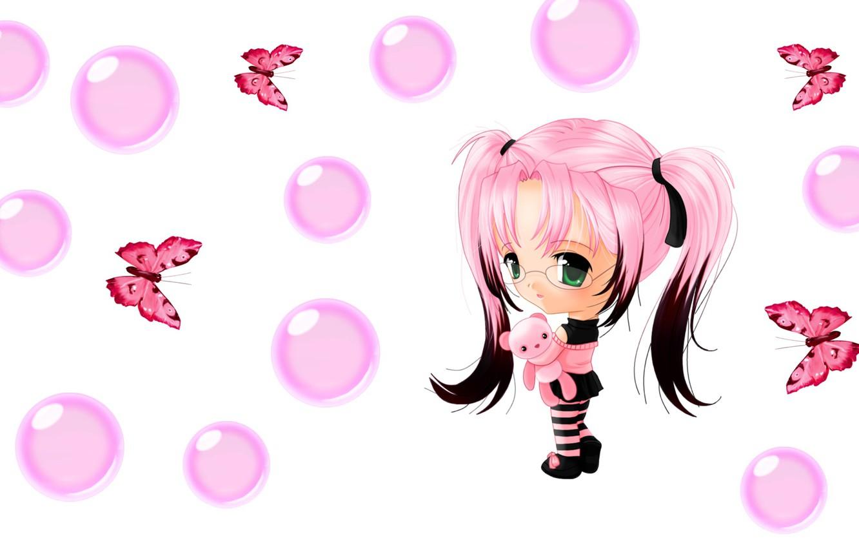 Photo wallpaper bubbles, butterfly, anime, art, girl