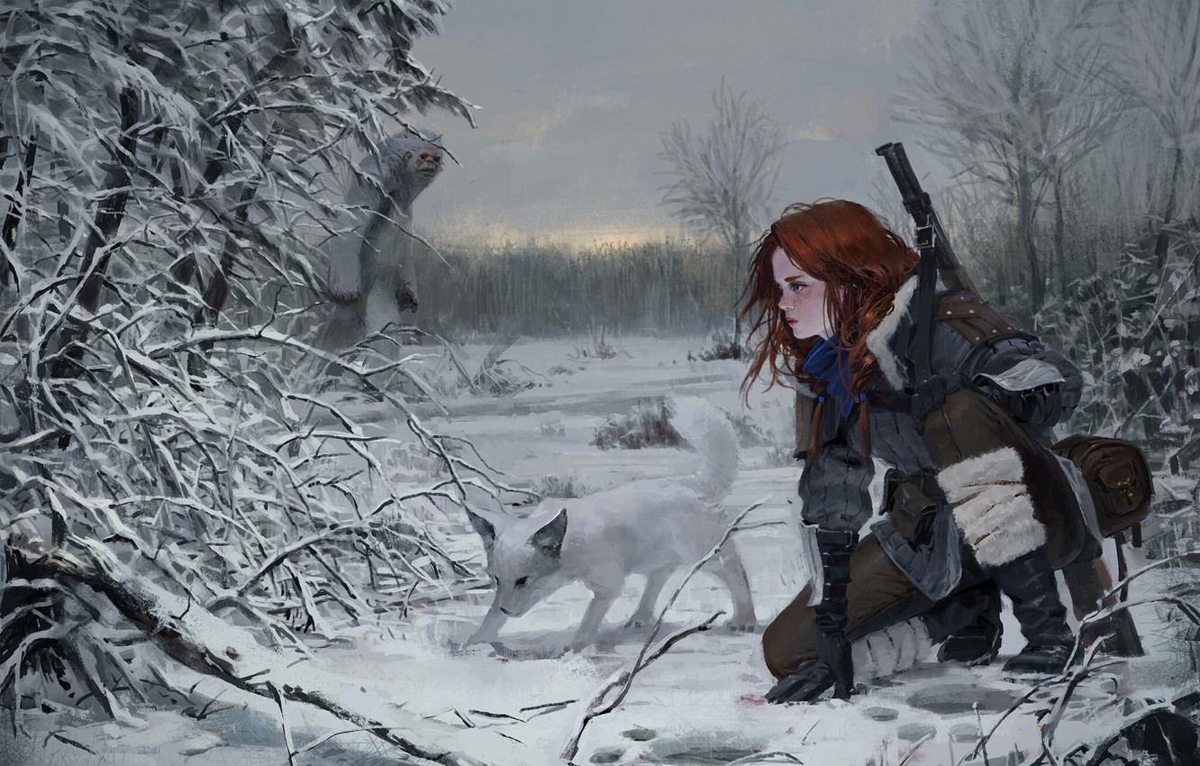 Photo wallpaper The sky, Nature, Winter, Girl, Dog, Trees, Snow, Forest, Traces, Branches, Girl, Weapons, Nature, Sky, …