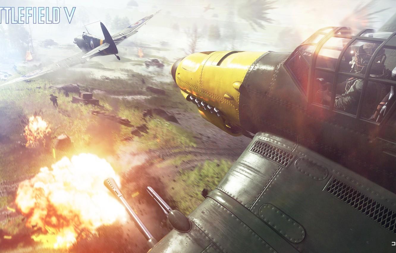 Photo wallpaper battlefield, aircraft, Supermarine Seafire, Battlefield 5, Ju.87G, Battlfield V
