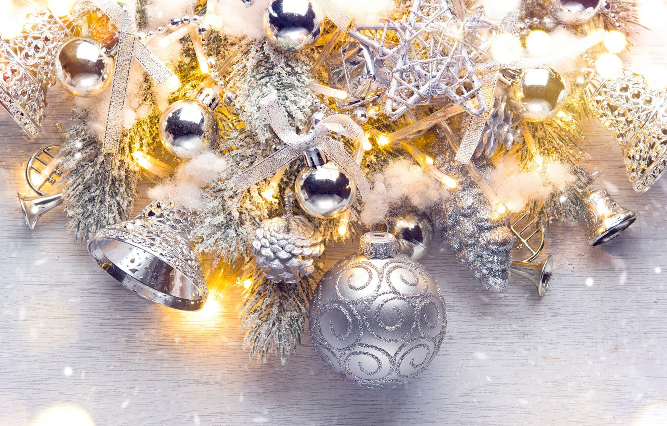 Photo wallpaper holiday, balls, toys, silver, new year, beads, bells, bumps, fir-tree branches