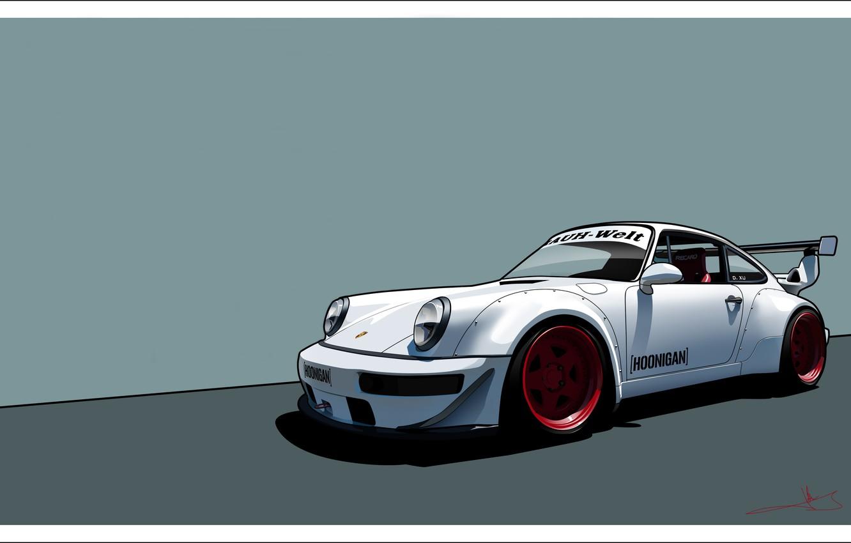 Wallpaper Auto Figure White Porsche Machine Art 964