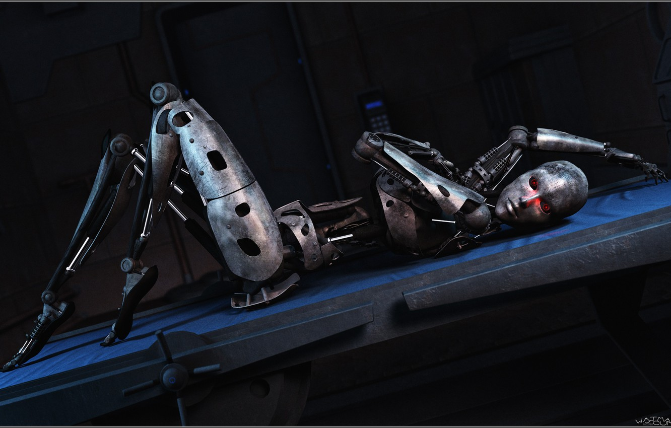 Photo wallpaper pose, Android, iron, bed, Cyber-otica