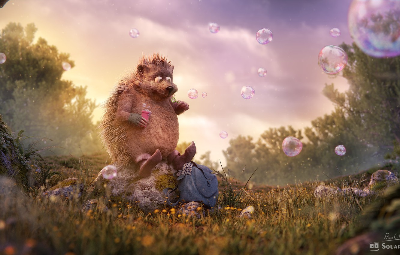 """Photo wallpaper forest, summer, bubbles, bubbles, clearing, hedgehog, children's, rico cilliers, Occupation: """"Dreamer"""""""