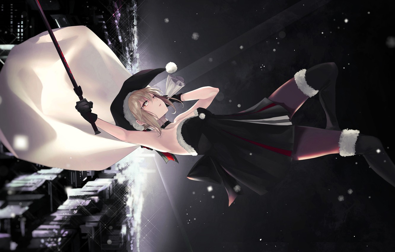 Photo wallpaper look, girl, sword, drop, the saber, Fate / Grand Order