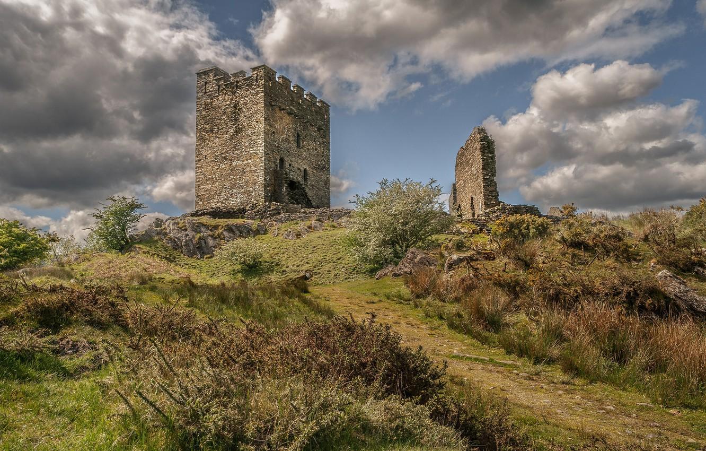 Photo wallpaper castle, tower, ruins, Wales, Dolwyddelan