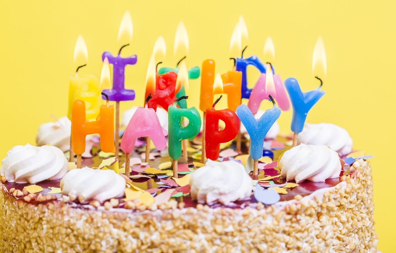 Photo wallpaper candles, colorful, cake, cake, Happy Birthday, celebration, candles, decoration, Birthday