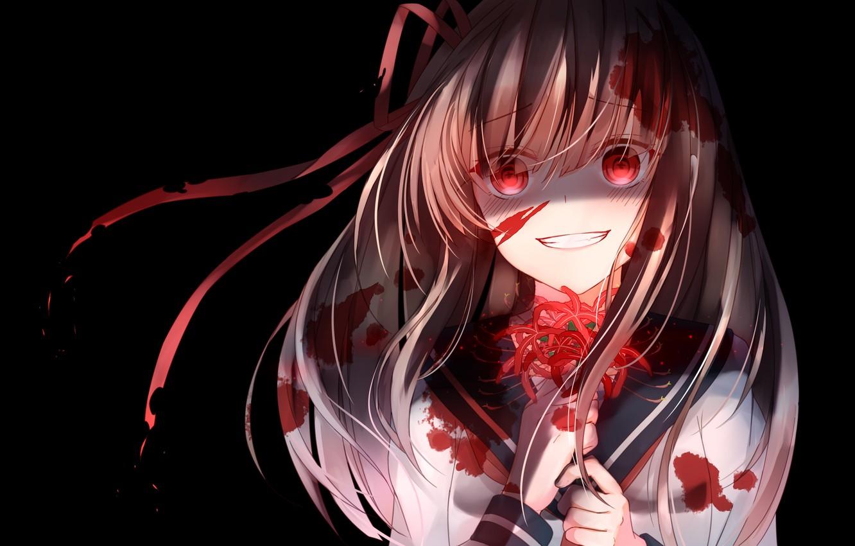 Photo wallpaper flower, look, girl, smile, anime, art