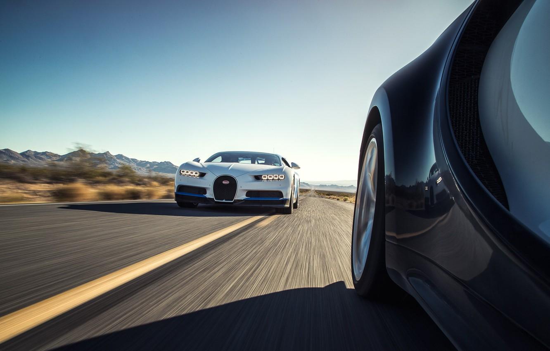 Photo wallpaper car, Bugatti, supercar, desert, race, speed, sand, asphalt, suna, montain, sabaku, Chiron, Bugatti Chiron