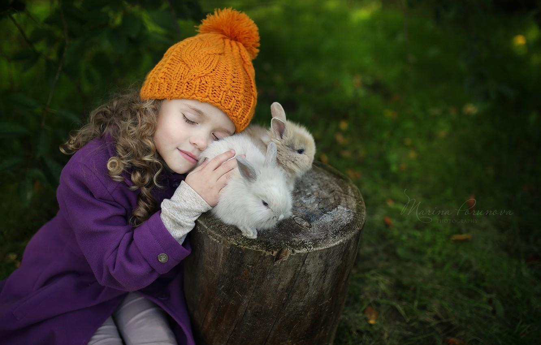 Photo wallpaper hat, girl, rabbits