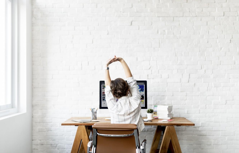 Wallpaper Wall Woman Computer Back Work Elongation