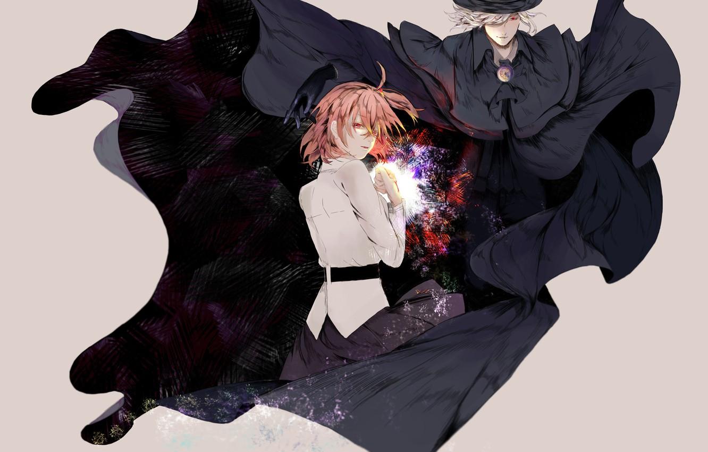 Wallpaper girl, hat, anime, art, guy, cloak, characters