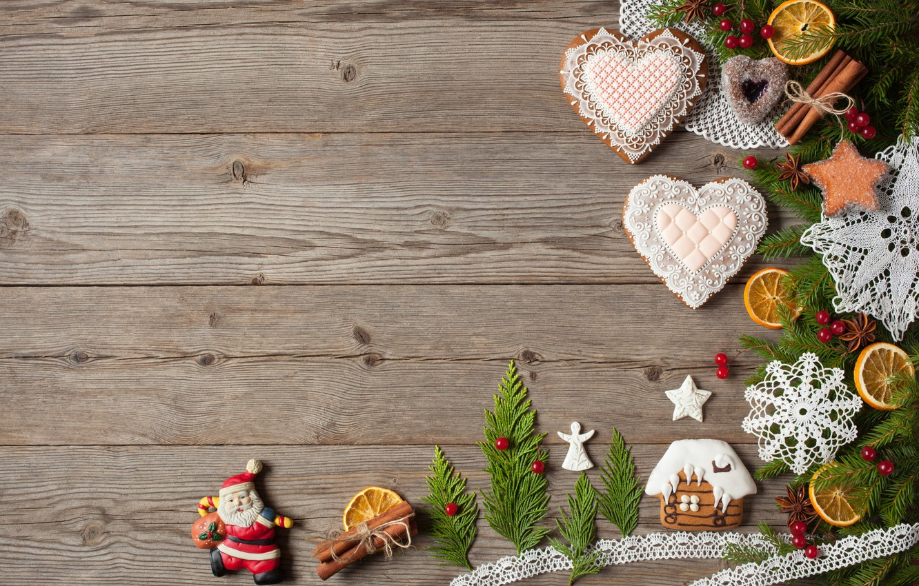 Photo wallpaper decoration, berries, tree, New Year, cookies, Christmas, hearts, snowmen, fruit, nuts, Christmas, wood, hearts, Merry …