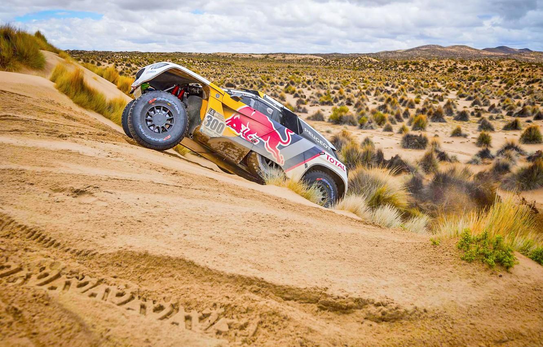 Photo wallpaper Sand, Sport, Speed, Clouds, Race, Peugeot, Lights, Red Bull, Rally, Dakar, Dakar, Rally, Sport, The …
