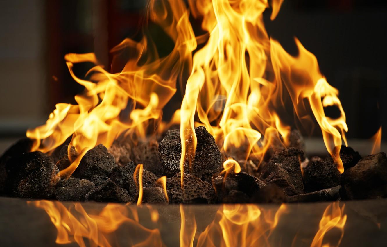 Photo wallpaper fire, flame, fireplace