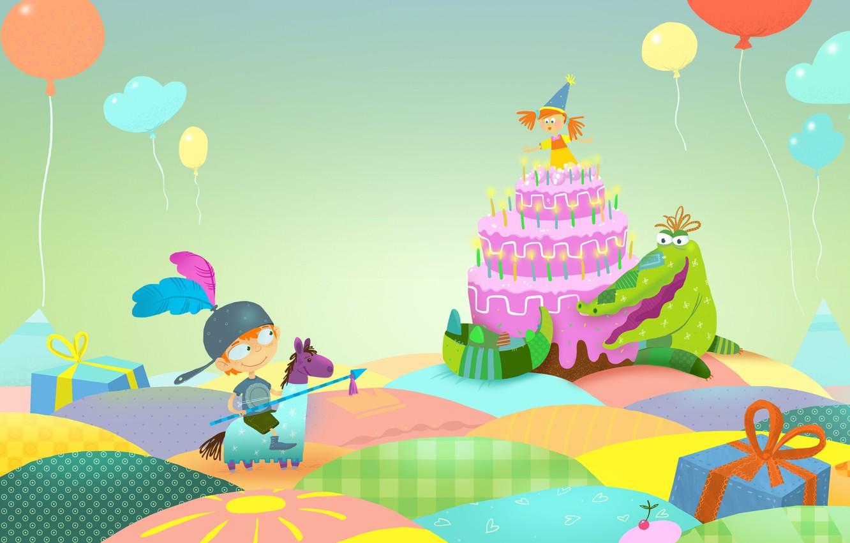 Photo wallpaper fantasy, birthday, holiday, gift, the game, vector, ball, boy, art, girl, cake, Princess, children's