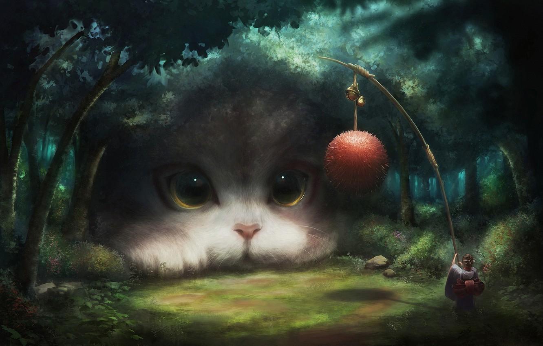 Photo wallpaper girl, fantasy, game, forest, eyes, Cat, clear, animal, ball, digital art, artwork, situation, fantasy art, …