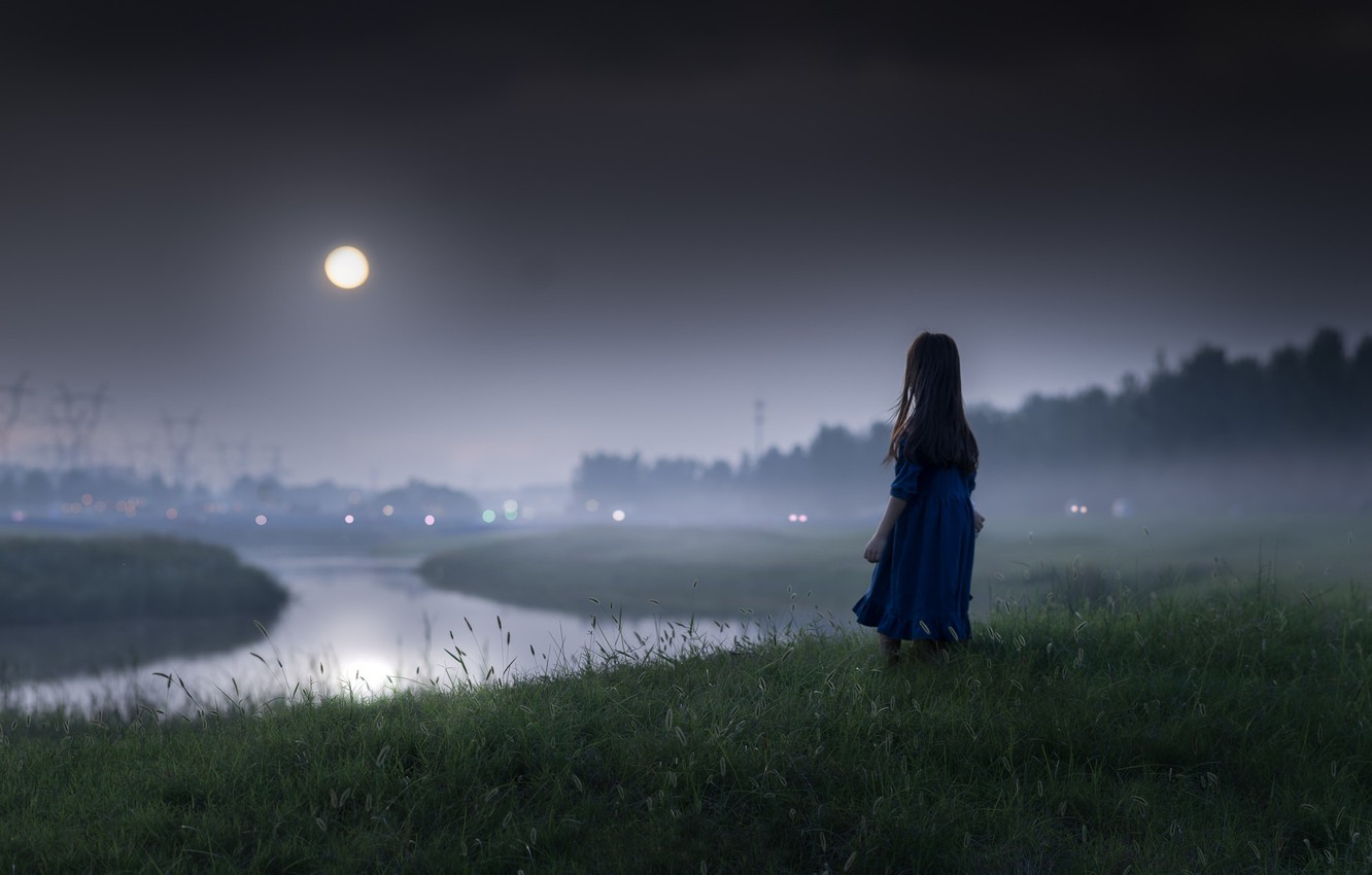 Photo wallpaper night, river, mood, the moon, girl