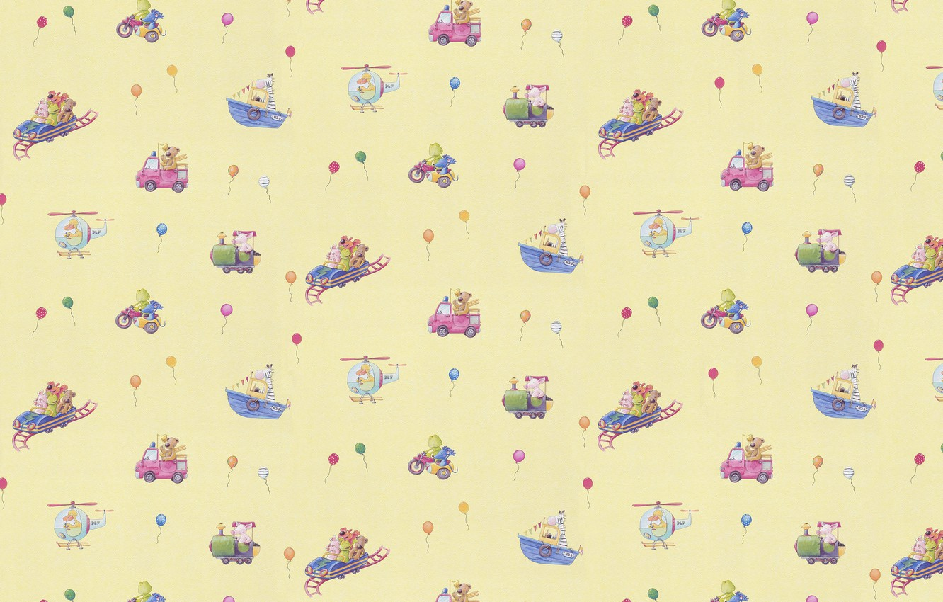 Photo wallpaper background, toy, ball, art, drawings, helicopter, boat, machine, children's, train