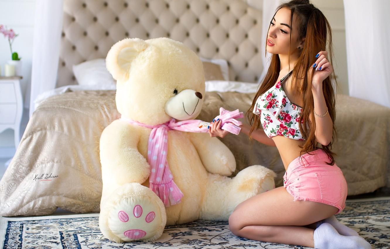 Photo wallpaper girl, shorts, long hair, legs, photo, photographer, model, bokeh, face, brunette, bed, body, breasts, teddy …