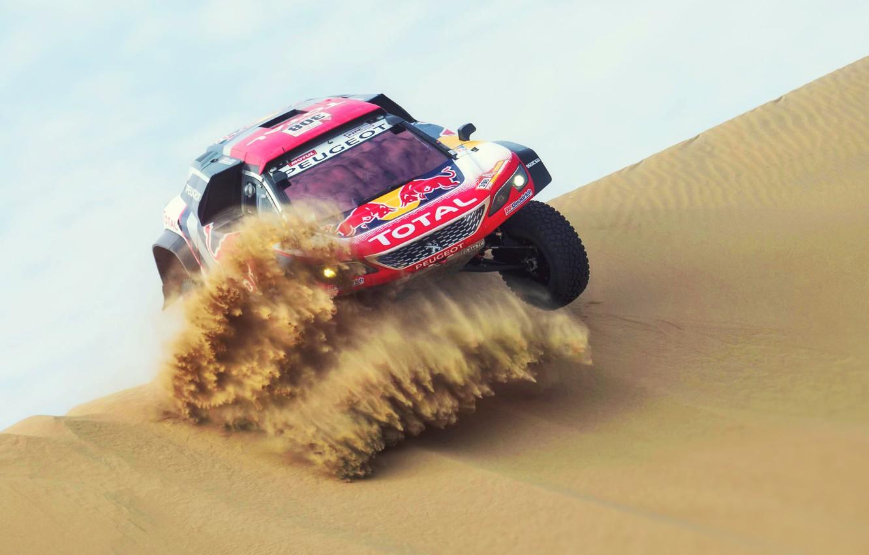 Photo wallpaper Sand, Auto, Race, Peugeot, Lights, Red Bull, 308, Rally, Dakar, Dakar, SUV, Rally, Sport, The …