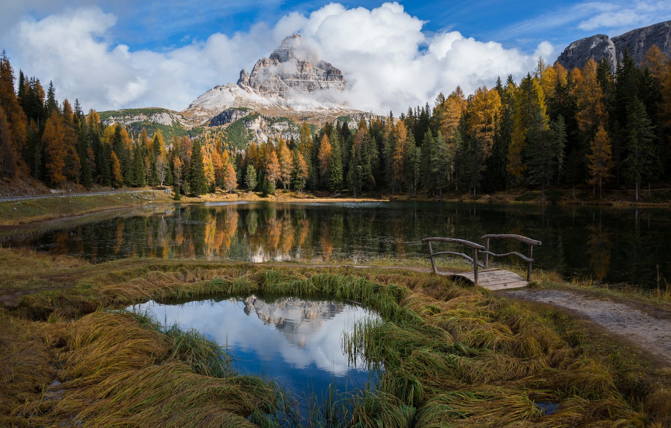 Photo wallpaper autumn, forest, the sky, clouds, mountains, nature, lake, the bridge