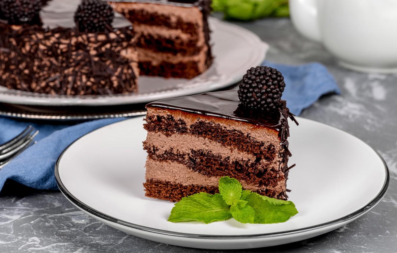 Photo wallpaper chocolate, cake, cream, dessert, BlackBerry