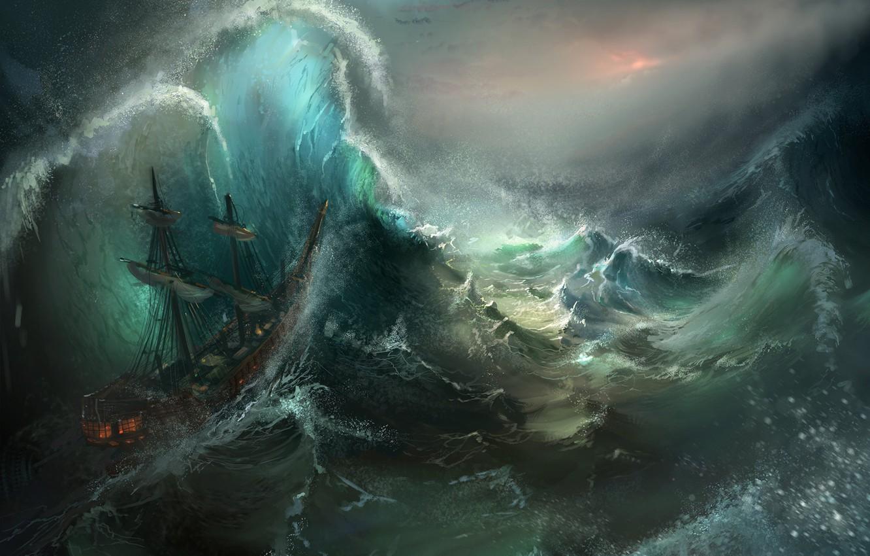 Photo wallpaper sea, wave, storm, ship, art, Diamond Kitty Finding Her Johnson, Stormy Seas