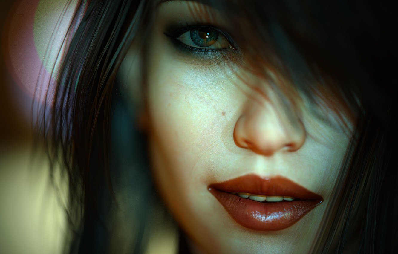 Photo wallpaper girl, close-up, face, rendering, makeup