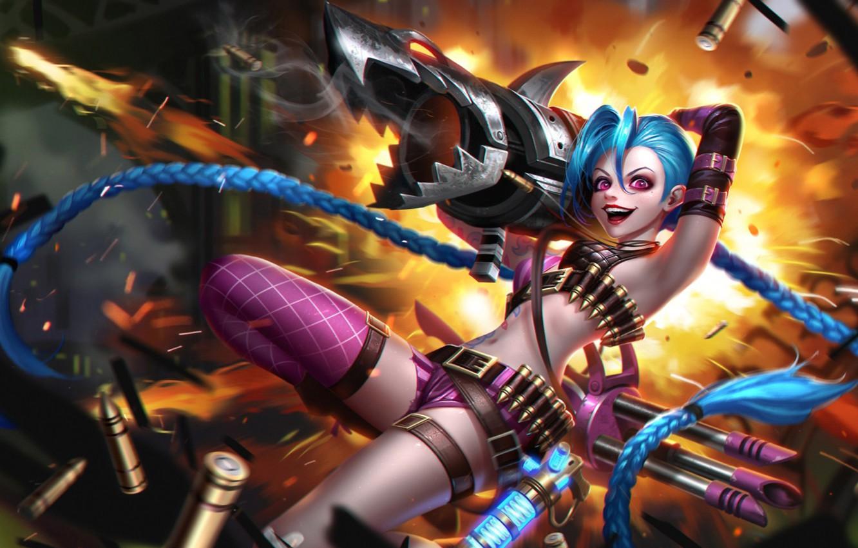 Photo wallpaper girl, smile, hair, art, Bazooka, League of Legends, jinx, loose cannon