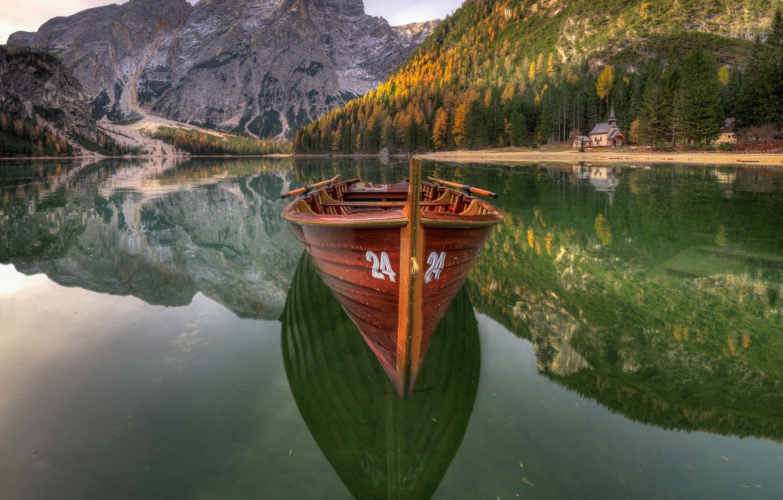Photo wallpaper boat, Lake, The Dolomites, Braies