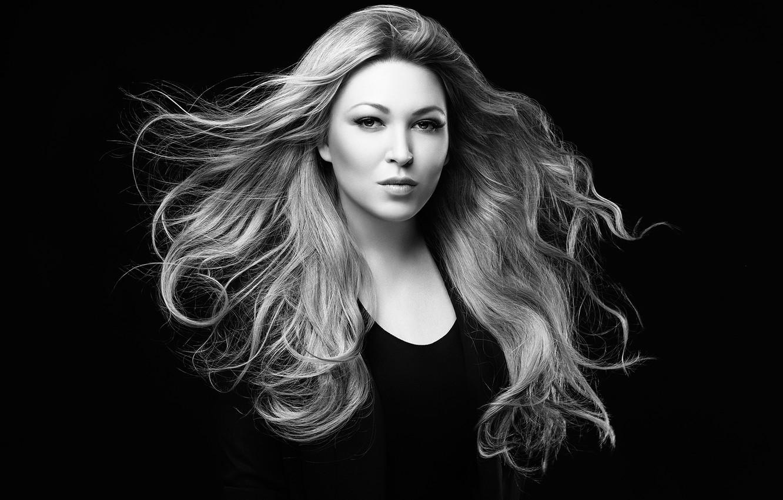 Photo wallpaper black and white, singer, Irina Dubtsova